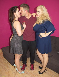 Two naughty Spanish housewives share one guy