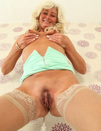 Unshaved housewife playing with herself