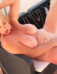 British Big breasted  Melody Charm gets steamy in the sun