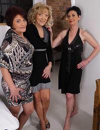 Three naughty mature ladies go full lesbian